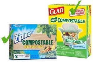 Les sacs en plastique compostable sont acceptés dans le bac brun!